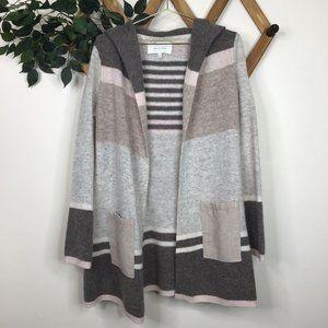 Anthropologie Mixed-Stripe Wool Open Cardigan